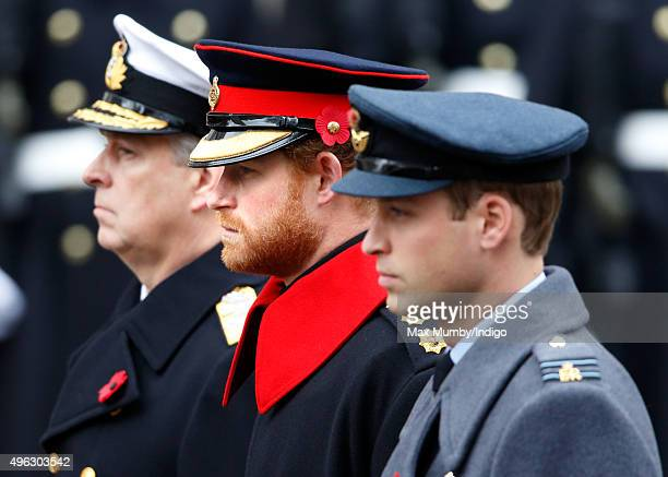Prince Andrew, Duke of York, Prince Harry and Prince William, Duke of Cambridge attend the annual Remembrance Sunday Service at the Cenotaph on...