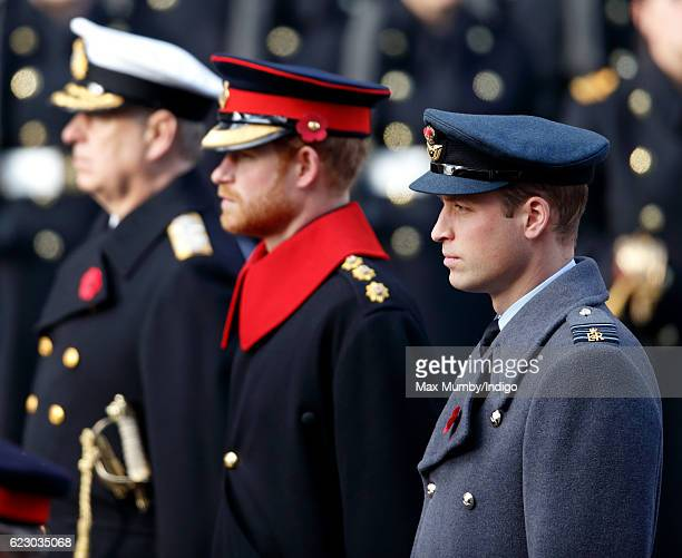 Prince Andrew Duke of York Prince Harry and Prince William Duke of Cambridge attend the annual Remembrance Sunday Service at the Cenotaph on...