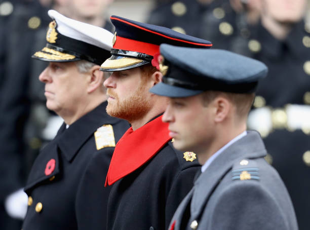 Prince Andrew Duke of York Prince Harry and Prince William Duke of Cambridge during the annual Remembrance Sunday memorial on November 12 2017 in...