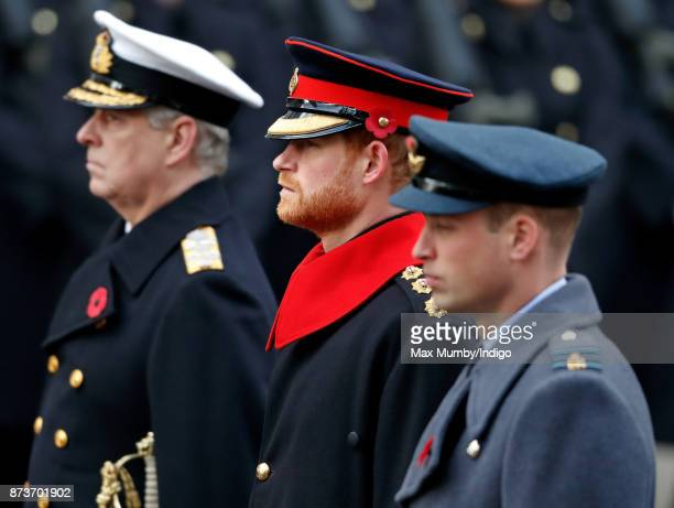 Prince Andrew Duke of York Prince Harry and Prince William Duke of Cambridge attend the annual Remembrance Sunday Service at The Cenotaph on November...