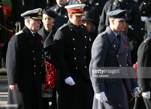 Prince Andrew, Duke of York, Prince Harry, Duke of Sussex and Prince William, Duke of Cambridge attends the annual Remembrance Sunday memorial at The...