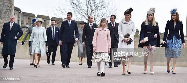 Prince Andrew Duke of York Princess Anne Princess Royal her husband Timothy Laurence Prince Edward Earl of Wessex Lady Louise Windsor Sophie Countess...
