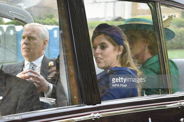 Prince Andrew Duke of York Princess Beatrice and Sarah Duchess of York leave Windsor Castle after their wedding for an evening reception at Royal...