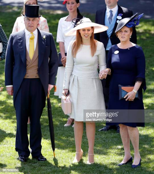 Prince Andrew Duke of York Princess Beatrice and Sarah Duchess of York attend day 4 of Royal Ascot at Ascot Racecourse on June 22 2018 in Ascot...