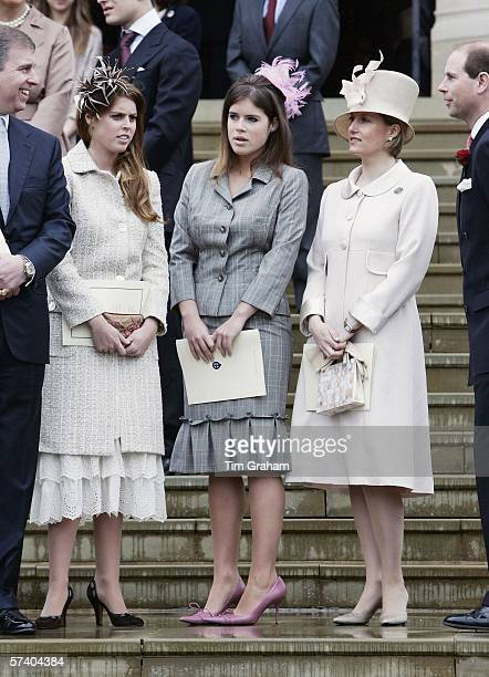 Prince Andrew Duke of York Princess Beatrice Princess Eugenie Sophie RhysJones Countess of Wessex and husband Prince Edward Earl of Wessex stand...