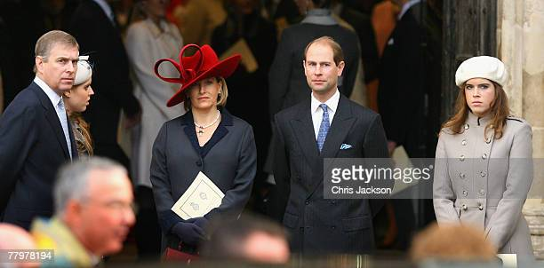 Prince Andrew Duke of York Princess Beatrice Windsor Sophie Countess of Wessex and Prince Edward Earl of Wessex and Princess Eugene Windsor leave HRH...