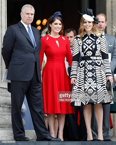 Prince Andrew Duke of York Princess Eugenie and Princess Beatrice attend a national service of thanksgiving to mark Queen Elizabeth II's 90th...