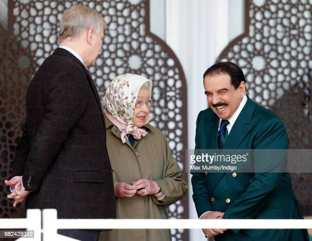 Prince Andrew, Duke of York, Queen Elizabeth II and King Hamad bin Isa Al Khalifa of Bahrain attend the Endurance event on day 3 of the Royal Windsor...