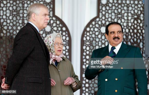 Prince Andrew Duke of York Queen Elizabeth II and King Hamad bin Isa Al Khalifa of Bahrain attend the Endurance event on day 3 of the Royal Windsor...