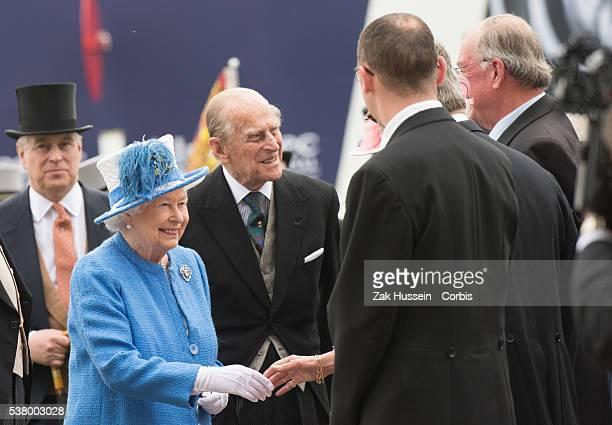 Prince Andrew, Duke of York, Queen Elizabeth II and Prince Philip, Duke of Edinburgh arrive for the Investec Derby Festival at Epsom Racecourse on...