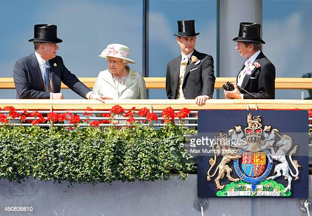 Prince Andrew Duke of York Queen Elizabeth II Prince Edward Earl of Wessex and John Warren watch the horses in the parade ring as they attend Day 2...