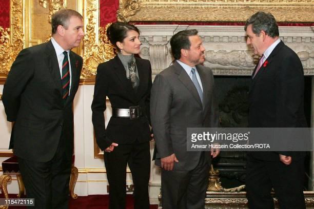Prince Andrew Duke of York Queen Rania of Jordan King Abdullah II Bin Al Hussein of Jordan and British Chancellor Gordon Brown right pose at St...