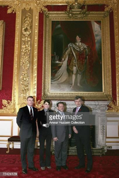 Prince Andrew Duke of York Queen Rania of Jordan King Abdullah II of Jordan and British Chancellor Gordon Brown pose at St James's Palace in London...