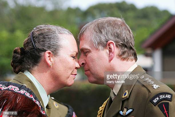 Prince Andrew Duke of York receives a Hongi from CO Colonel Cate Tarsau during a visit to the Trentham Military Camp on the second day of his seven...