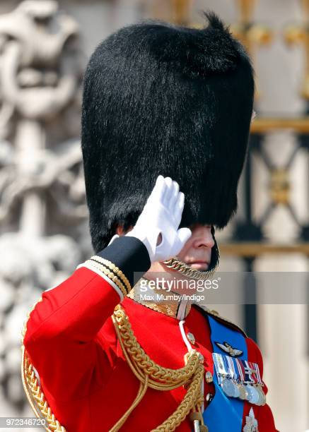 Prince Andrew Duke of York rides on horseback down The Mall during Trooping The Colour 2018 on June 9 2018 in London England The annual ceremony...