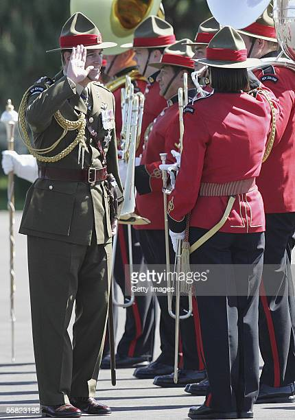 Prince Andrew Duke of York salutes as he reviews a parade of the 2nd Logistic Battalion band after a Powhiri at Linton Army base September 29 2005 in...