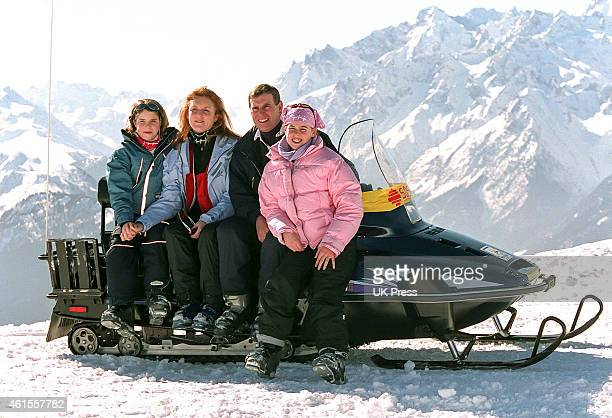 Prince Andrew Duke of York Sarah Duchess of York Princess Beatrice and Princess Eugenie on a Skiing holiday in Verbier Switzerland on February 18 in...