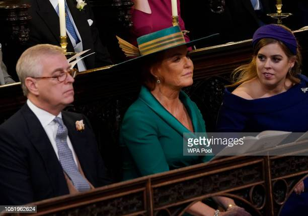 Prince Andrew Duke of York Sarah Ferguson and Princess Beatrice of York attend of the wedding of Princess Eugenie of York and Mr Jack Brooksbank at...