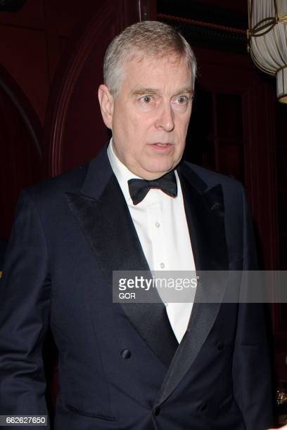 Prince Andrew Duke of York sighting at Park Chinois restaurant Mayfair on March 31 2017 in London England