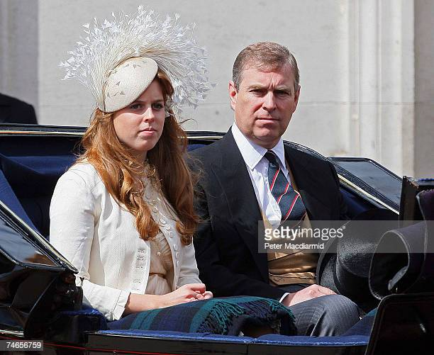 Prince Andrew Duke of York sits next to his daughter Princess Beatrice during the Trooping the Colour ceremony on June 16 2007 in London Each year...