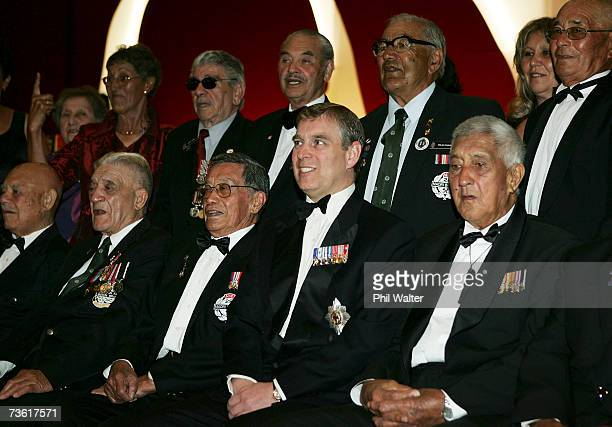 Prince Andrew Duke of York sits with war veterans for an official photo at the gala dinner in honour of the members of the 28th Maori Battalion at...