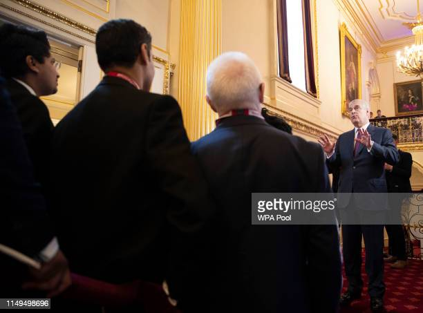 Prince Andrew Duke of York speaks as he hosts a Pitch@Palace event at Buckingham Palace on June 12 2019 in London England