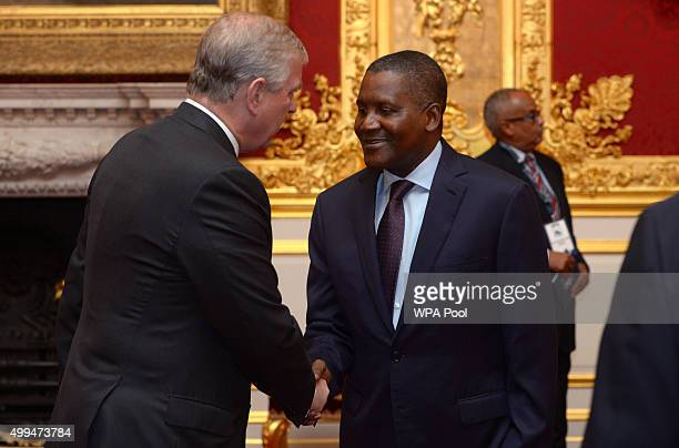 Prince Andrew Duke of York speaks to Aliko Dangote during the London Global African Investment Summit at St James' Palace on December 1 2015 in...