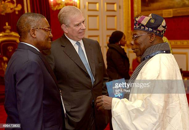 Prince Andrew Duke of York speaks to Olusegun Obasanjo former president of Nigeria during the London Global African Investment Summit at St James'...