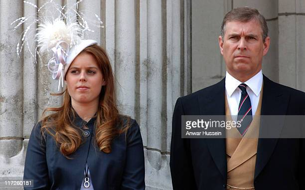 Prince Andrew Duke of York stands with his daughter Princess Beatrice on the balcony of Buckingham Palace following the Trooping the Colour ceremony...