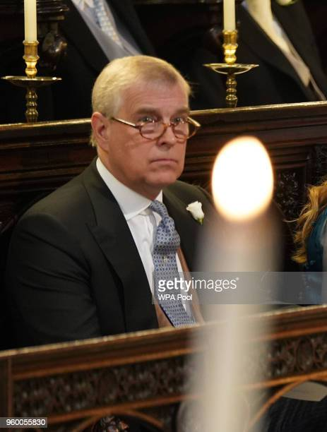 Prince Andrew Duke of York takes his seats at St George's Chapel at Windsor Castle before the wedding of Prince Harry to Meghan Markle on May 19 2018...