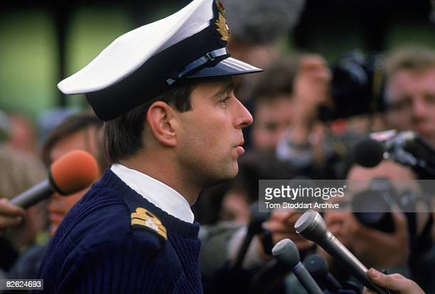 Prince Andrew Duke of York talks to reporters in Lockerbie Scotland during a visit to the Pan Am Flight 103 crash site December 1988 The Boeing 747...