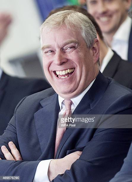 Prince Andrew Duke of York visits the AkzoNobel Decorative Paints facility at Slough in Berkshire on April 13 2015 in Slough England The Duke is...