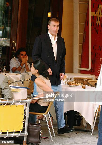 Prince Andrew, Duke of York, walks out of Cipriani's Restaurant after having lunch with his ex-wife Sarah Ferguson on October 6, 2005 in New York...