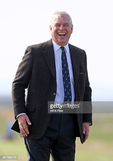 Prince Andrew Duke of York watches play on day one of the Duke of York Young Champions Trophy at the Prince's Golf Club on September 9 2015 in...