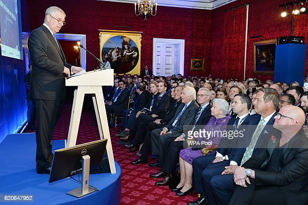 Prince Andrew Duke of York welcomes his mother Queen Elizabeth II and the attendees during a speech at the opening of Pitch@Palace 60 an initiative...