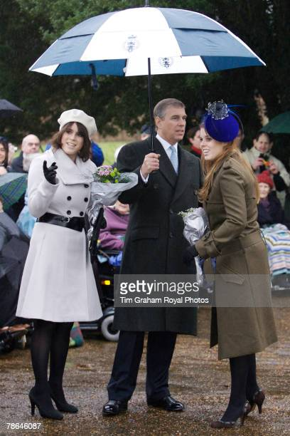 Prince Andrew Duke of York with daughters Princess Beatrice and Princess Eugenie join other members of the Royal Family for Christmas Day service at...