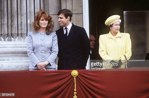 Prince Andrew Duke Of York With His Fiancee Sarah Ferguson On The Balcony At Buckingham Palace For The Queen's 60th Birthday Celebrations
