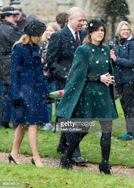 Prince Andrew Duke of York with Princess Beatrice and Princess Eugenie leave St Lawrence Church on January 21 2018 in Castle Rising England