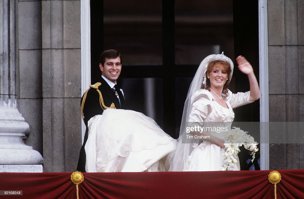 Prince Andrew, Duke Of York With Sarah, Duchess Of York On The Balcony At Buckingham Palace On Their Wedding Day.