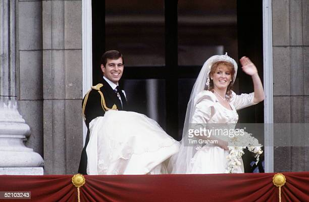 Prince Andrew Duke Of York With Sarah Duchess Of York On The Balcony At Buckingham Palace On Their Wedding Day