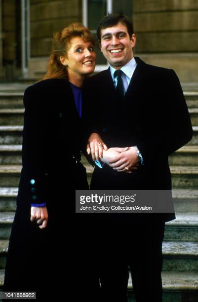 Prince Andrew Duke of York with Sarah Ferguson after their engagement announcement Buckingham Palace London 17th March 1986 17th March 1986