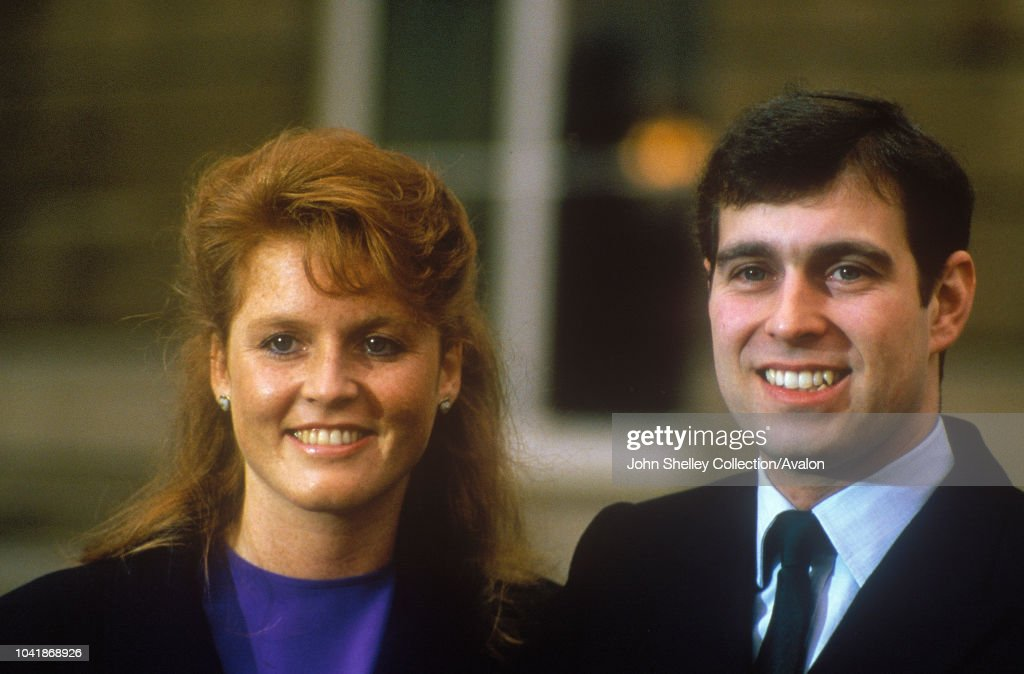 Prince Andrew, Duke of York with Sarah Ferguson after their engagement announcement, Buckingham Palace, London, 17th March 1986. : News Photo
