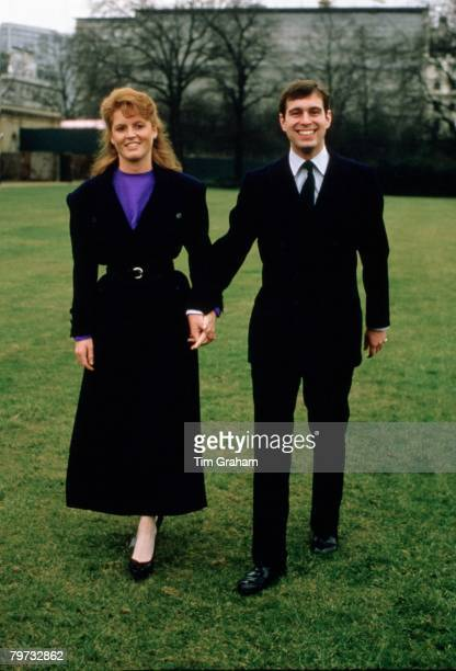 Prince Andrew, Duke of York with Sarah Ferguson after their engagement announcement, Buckingham Palace, London, 17th March 1986.
