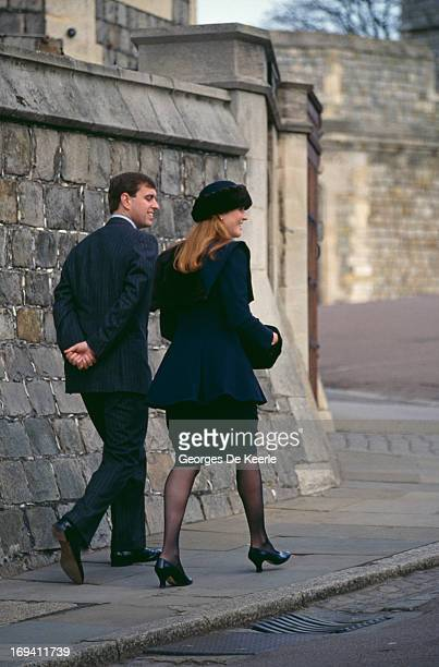 Prince Andrew Duke of York with Sarah Ferguson Duchess of York at Windsor Castle 26th March 1989