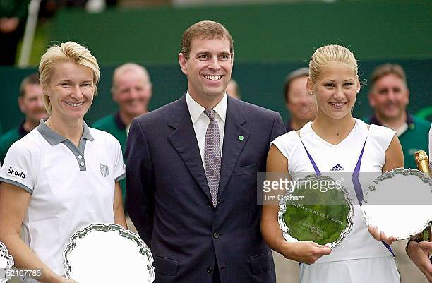 Prince Andrew, Duke Of York, With Tennis Stars Jana Novotna And Anna Kournikova At A Charity Tennis Tournament On The Tennis Courts At Buckingham...