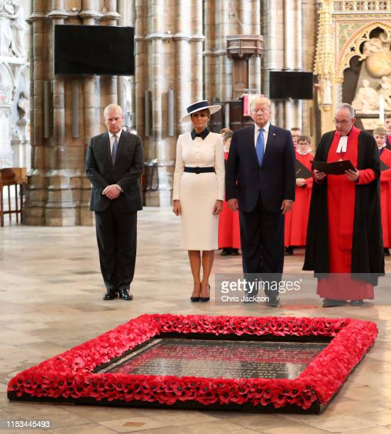 Prince Andrew Duke of York with US President Donald Trump and First Lady Melania Trump at the Grave of the Unknown Warrior during their visit to...