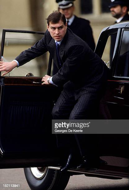 Prince Andrew gets out of a car as he attends the Easter Mass in Windsor on March 26 1989