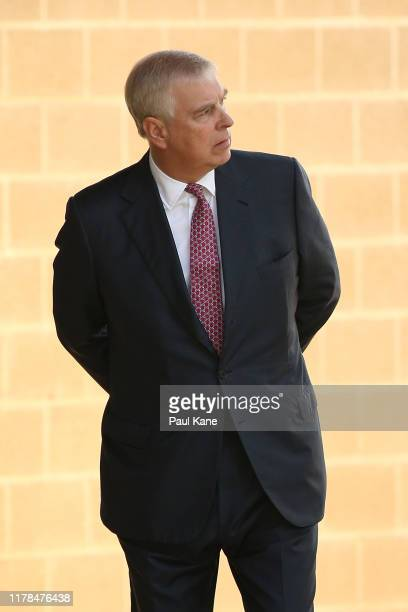 Prince Andrew looks on after being greeted by Professor Romy Lawson Provost of Murdoch University on arrival at Murdoch University on October 02 2019...