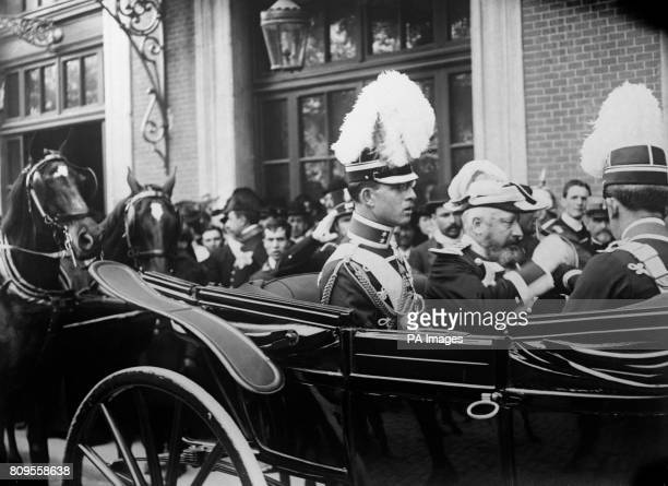 Prince Andrew of Greece outside Madrid Train Station on the occasion of King Alfonso XIII's wedding to Princess Victoria Eugenie of Battenberg