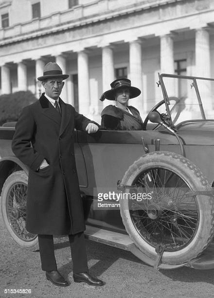 Prince Andrew of Greece with Princess Alice in their New Mercedes Motor at the Palace